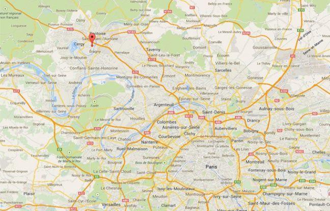 Capture d'écran google map de Cergy-Pontoise.