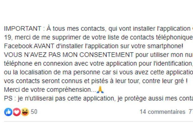 En publiant sur Facebook, vous recevrez l'application Stopcovid aura accès aux référentiels de nos téléphones portables.