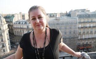 Nathalie Dubois sur la terrasse de sa suite cadeaux à l'hôtel Napoléon