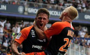 MHSC OL : Florent Mollet dans les bras d'Arnaud Souquet qui a marqué l'unique but de la rencontre