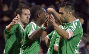 Max-Alain Gradel et Loïc Perrin se congratulent après l'égalisation de l'Ivoirien mais ont des regrets sur le jeu pratiqué dimanche par l'ASSE.