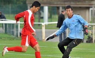 L'équipe de football de Corée du Nord est arrivée à Saint-Sébastien-sur-Loire près de Nantes, le 6 octobre