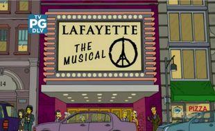 L'hommage des «Simpson» aux victimes des attentats de Paris, dans l'épisode 7 de la saison 27, diffusé le 22 novembre 2015 aux Etats-Unis.