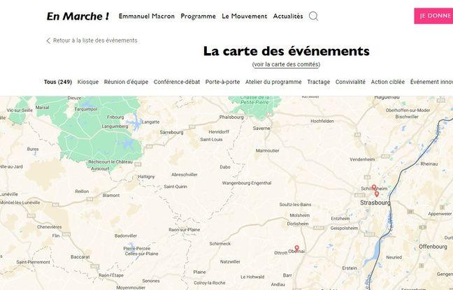 La carte des rassemblements du mouvement En Marche à Strasbourg et autour, à Obernai, par exemple.