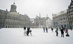 De la neige à Amsterdam, le 7 février 2021.