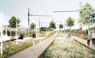 Le projet de Brazzaligne, le long d'une voie de chemin de fer sur la rive droite de Bordeaux