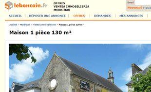 La chapelle de Pontivy est à vendre sur le Bon Coin.
