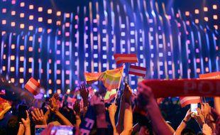 Parmi le public de l'Eurovision 2018 à Lisbonne.