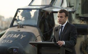 Emmanuel Macron prononce un discours lors de son déplacement en Australie le 2 mai 2018.