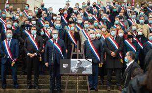 Hommage à Samuel Paty, sur les marches de l'Assemblée nationale le 20 octobre 2020.