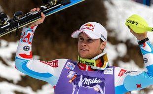 Alexis Pinturault en vainqueur du slalom de Wengen (Suisse), le 19 janvier 2014.