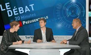 Nathalie Kosciusko-Morizet face à Michel Sapin dans le studio de «20Minutes» le 02 mai 2012