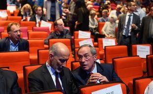 Claude Guéant lors d'un meeting de François-Xavier Bellamy, le 16 mai 2019 à Paris.