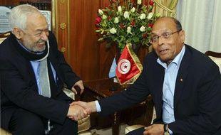 Rencontre entre le présidentMoncef Marzouki, à droite et le chef d'Ennahda Rachid Ghannouchi, le 20 février 2013