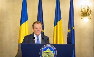Donald Tusk lors d'une conférence de presse à Bucarest, le 15 février 2016