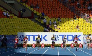 Une séire du 100m femme, le 10 août 2013, lors des Mondiaux d'athlétisme de Moscou.