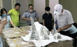 A Hanoï, au Vietnam, 125kg de cornes de rhinocéros ont été saisies, ce 28 juillet 2019.