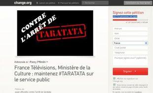 Capture d'écran du site Change.org avec la pétition pour le maintien de l'émission musicale «Taratata».