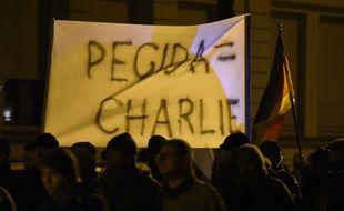 Une manifestation de Pegida à Leipzig en Allemagne, le 12  janvier 2015.