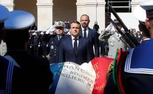 Emmanuel Macron, lors de la cérémonie d'hommage aux deux militaires tués au Burkina Faso