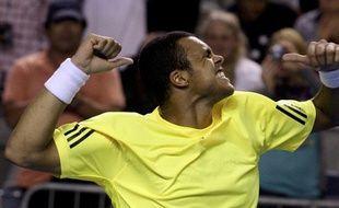 Le Français Jo-Wilfried Tsonga, vainqueur au deuxième tour de l'Open d'Australie contre Ivan Ljubicic, le jeudi 22 janvier 2009.