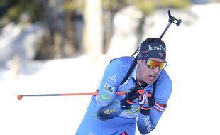 Quentin  Fillon Maillet lors des mondiaux de biathlon, le 20 février 2021.