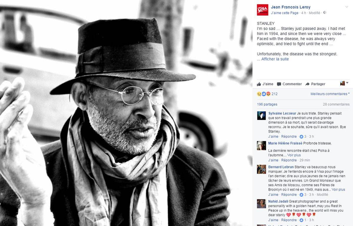 Capture de la publication annonçant la mort de Stanley Greene le 19 mai 2017 – Capture Facebook / Jean-François Leroy