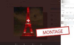 La Tour Eiffel n'a pas été illuminée aux couleurs de la Suisse lundi soir.