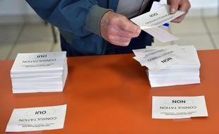 Consultation sur le projet d'aéroport de Notre-Dame-des-Landes dans les bureaux de vote de Loire-Atlantique le 26 juin.  / L.VenanceV