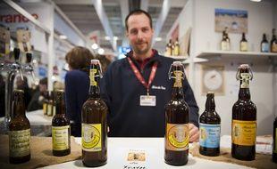 Le 26 fevrier 2012. Producteur de biere dans le Vexin ayant obtenu le label - SAVEURS PARIS ILE-DE-FRANCE - au Salon de l'agriculture.  // PHOTOS : V. WARTNER/20 MINUTES
