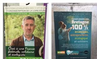 Les deux affiches des deux partis bretons pour les législatives.