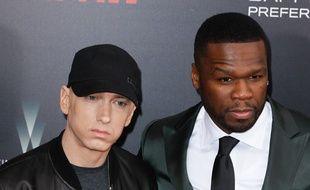 Les rappeurs Eminem et 50 Cent à la première new-yorkaise de La Rage Au Ventre.