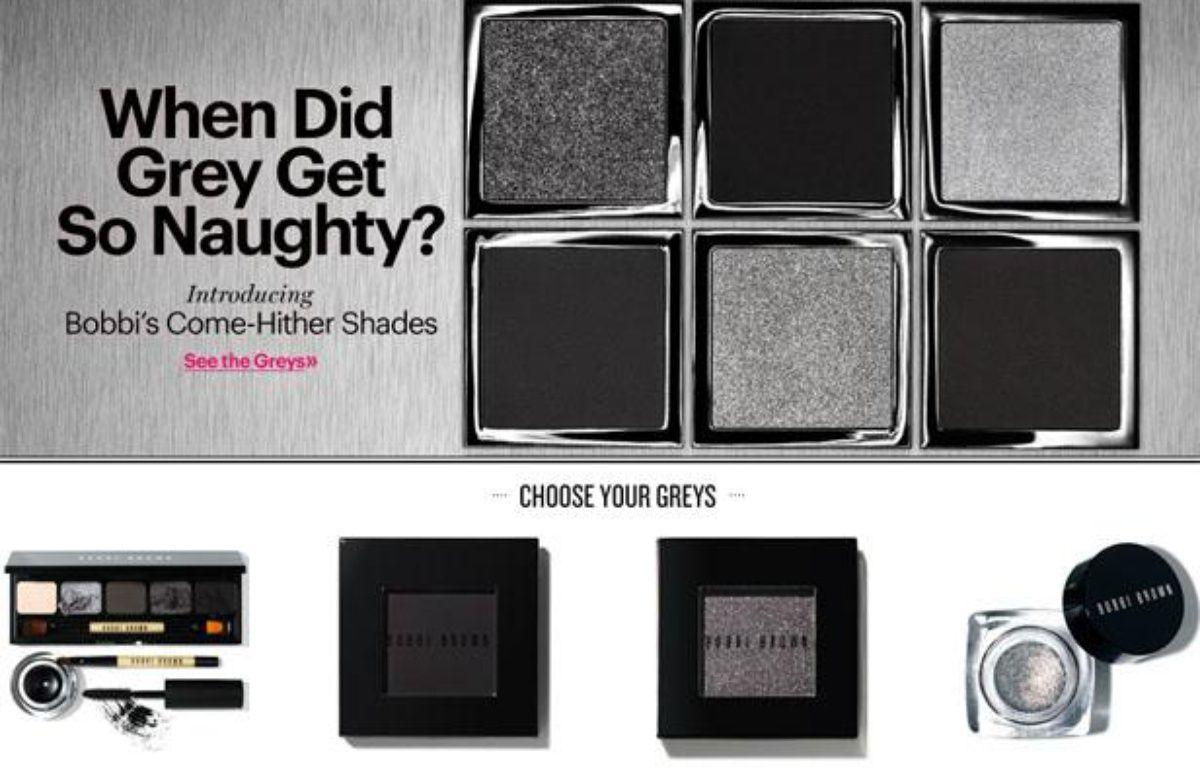 La marque de cosmétiques Bobbi Brown surfe sur le succès de la saga «Fifty Shades of Grey» avec une nouvelle palette, Come-Hither Shades (teintes aguicheuses).  – CAPTURE D'ECRAN/20MINUTES.FR