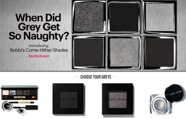 La marque de cosmétiques Bobbi Brown surfe sur le succès de la saga «Fifty Shades of Grey» avec une nouvelle palette, Come-Hither Shades (teintes aguicheuses).