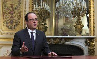 Le président François Hollande lors de ses voeux aux Français le 31 décembre 2014 à l'Elysée