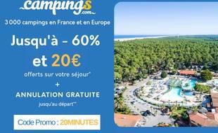 Jusqu'à -60% sur votre séjour et 20€ offerts avec Campings.com