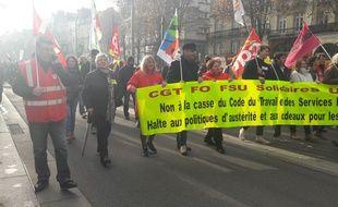 Les manifestants dans les rues de Nantes jeudi 16 novembre 2017.