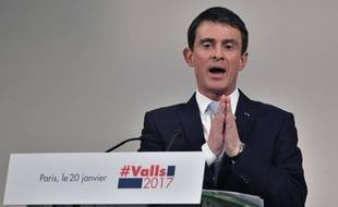Manuel Valls, le vendredi 20 janvier 2017 lors de son dernier meeting avant le 1er tour de la primaire.