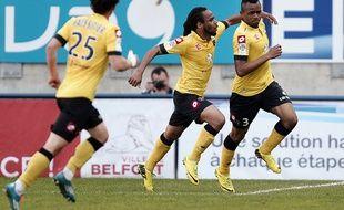 Les Sochaliens célèbrent un but lors du match contre Nice le 5 mai 2014.