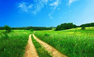 Illustration d'un chemin dans la campagne.