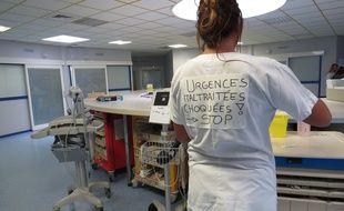 A Tourcoing, le 18 octobre 2016 - Le service des urgences du CH Dron en colere apres l'agression de deux medecins.