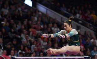 Une athlète australienne lors d'une compétition aux Etats-Unis en mars 2020, avant la pandémie.