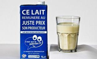 Une brique de lait d'un litre de la marque «C'est qui le patron»