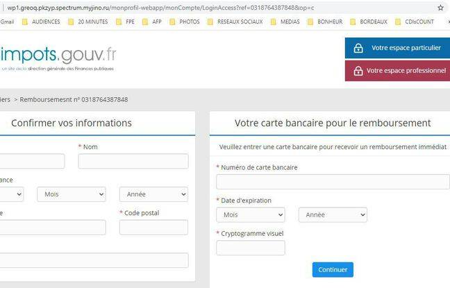 A fraudulent site which includes all the codes of the General Directorate of Public Finances.