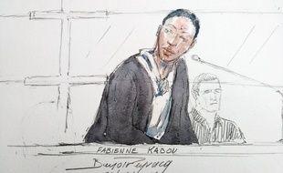 Dessin réalisé le 20 juin aux Assises de aint-Omer, montrant l'accusée Fabienne Kabou.
