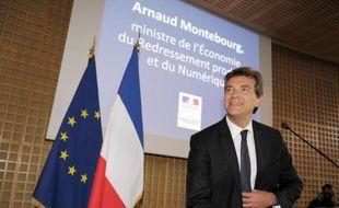 Arnaud Montebourg en conférence de presse le 25 août 2014 à Bercy à Paris