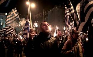 Des militants du parti grec d'inspiration néonazie grec Aube dorée se sont rassemblés à Athènes le 31 janvier 2015