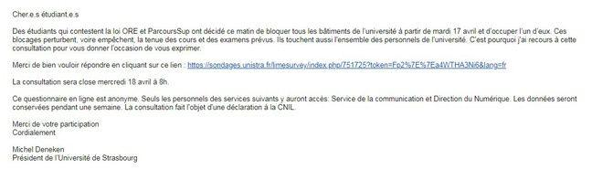 Le mail reçu par les étudiants de l'université de Strasbourg sur leur environnement numérique de travail avec le lien du sondage sur les blocages.