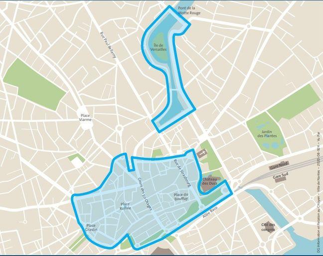 La carte du centre-ville de Nantes représentant les rues où le port du masque sera obligatoire à partir du 14 août.