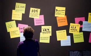L'exposition «Économie, Krack, Boom, Mue» à la Cité des Sciences de Paris, à la Villette, le 26 mars 2013.